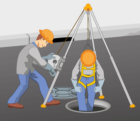 Illustration representing two workers checking the sewer pipe descend with the help of safety equipment for sewage Banco de Imagens - 71970106