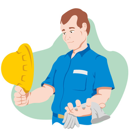 functionary holding safety equipment Illustration