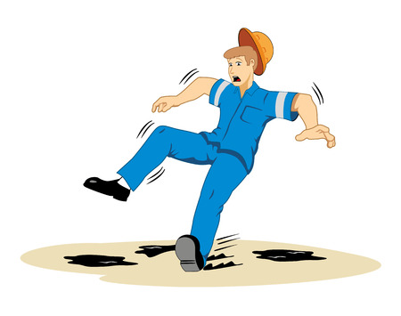 grease: Individual employee slipping on grease Illustration