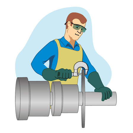 precision: This Represents a workman using a precision tool for the micrometer inscionar one piece of work