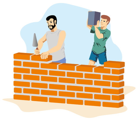 Illustration depicting people bricklayers building a wall at a construction site. Ideal for institutional materials