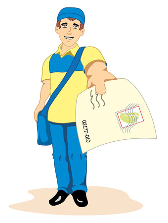 Illustration depicting a man postal worker, postman, mailman, courier or delivery