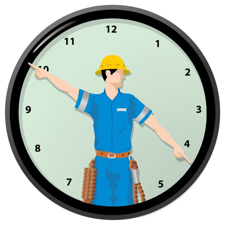 Illustration Single worker is the hands of a clock