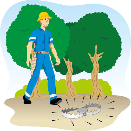 Illustration shows the inattentive employee walking into danger