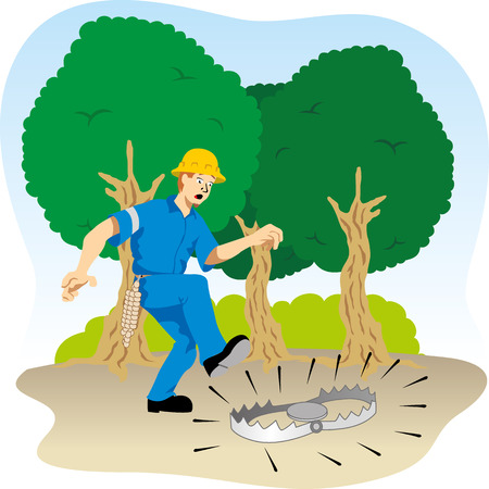 Illustration shows the Employee walking attentive to dangers Illustration