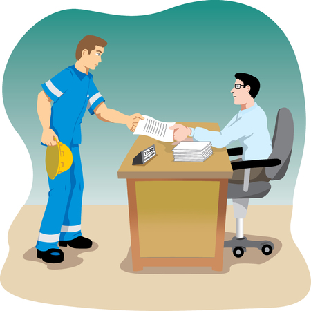 resignation: Illustration representing civil servant taking roles of an administrator in the office Illustration