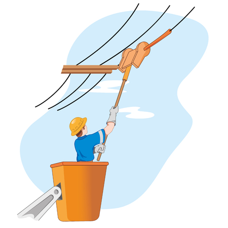 mains: Illustration shows the employee doing maintenance mains Illustration