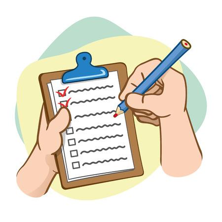 Illustration der Bürobedarf, Hände halten Zwischenablage und Bleistift. Ideal für pädagogische und institutionelle Materialien Standard-Bild - 72243372