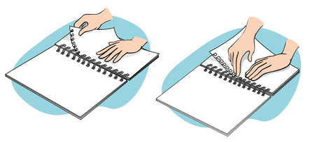 Illustration representing Hands teaching is binding sheets