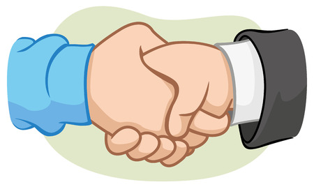 Illustration of two hands shaking hands with handshake 일러스트