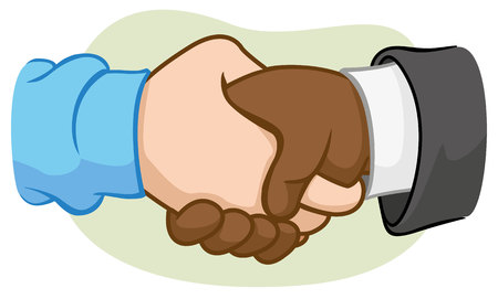 Illustration of two hands shaking hands with handshake Illustration