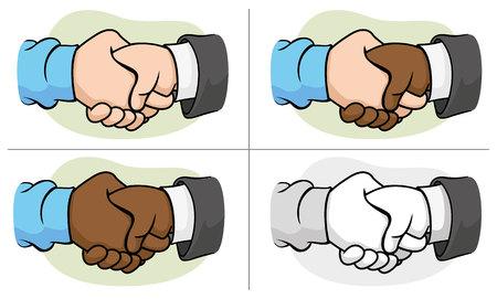 pareja abrazada: Ilustración de dos manos agitando las manos con apretón de manos