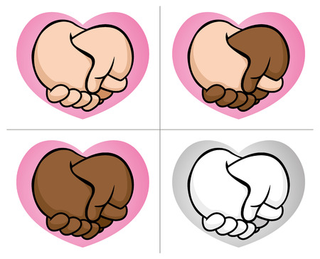 Illustration of two hands in the ethnic heart