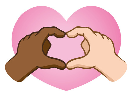 interracial: Hands forming a heart over the heart. Ideal for educational and institutional materials