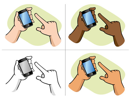 Hands using smartphone. Ideal for educational and institutional materials 일러스트