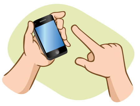 Hands using smartphone on green background. Ideal for educational and institutional materials.