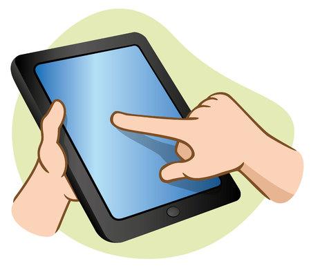 터치 스크린 태블릿을 잡고 사용하는 손의 그림