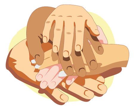 socialization: Illustration representing hands together