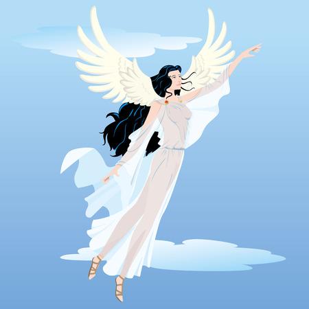 イラスト美しい天使のような女性は、飛行を持つ女神の翼します。宗教、教育の材料に最適