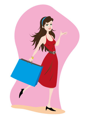 Illustration Represents a happy young brunet woman with shopping bag