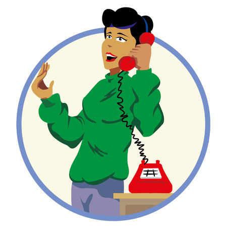 Illustration woman answering and talking on the phone. Ideal for catalogs and promotional materials