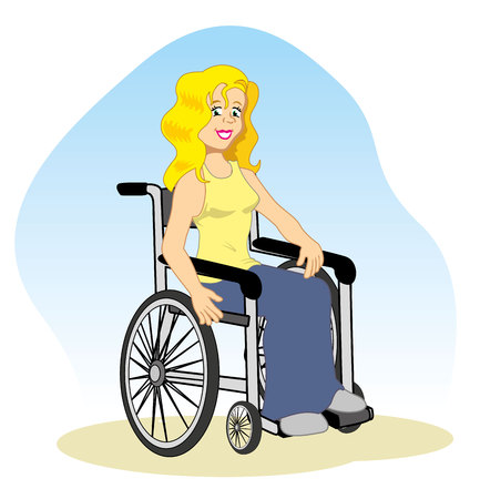 physically: Illustration woman needs special wheelchair