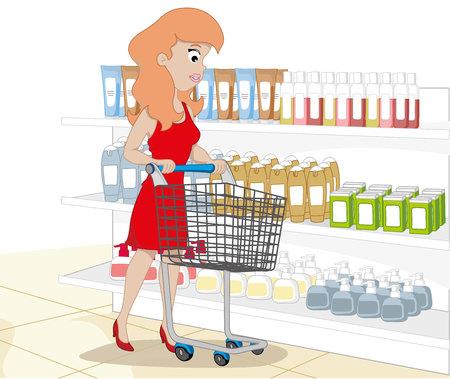 시장 마구간으로 쇼핑하는 여자의 그림입니다. 카탈로그 및 교육 자료 및 교육 자료에 이상적 일러스트