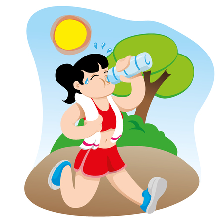 sedentario: Illustration representing a woman hydrating drinking water while exercising