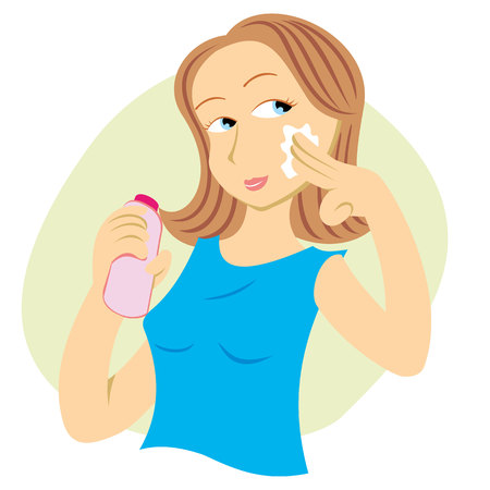 exfoliation: Illustration woman passing cosmetic cream on face. Ideal for cosmetic and promotional catalogs