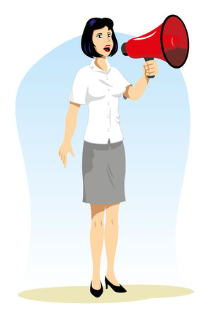 evacuate: Illustration woman doing talking and using a megaphone. Ideal for catalogs and fashion and beauty materials Illustration