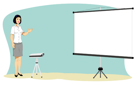 presentation screen: woman making presentation with the projector and screen