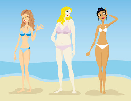 bather: Illustration of Women, models of silhouettes oval, hourglass, pear triangle, lean, slender fat. Ideal for catalogs and fashion and beauty materials Illustration
