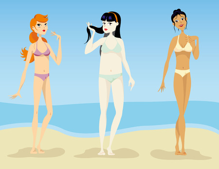 bather: Illustration of Women, models of silhouettes oval, hourglass, pear triangle, thin, slender and plus size. Ideal for catalogs and fashion and beauty materials
