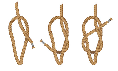 Instruction illustration of with making the default knot. Ideal for training and educational materials Illustration
