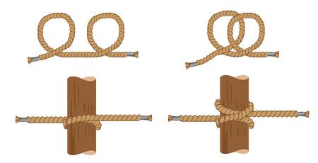Illustration der Unterweisung mit Schweinknoten, Seemannknoten. Ideal für Schulungen und Unterrichtsmaterialien