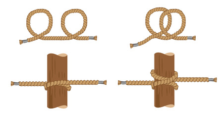 Illustration of instruction with making pig knot, sailor knot. Ideal for training and educational materials Illustration