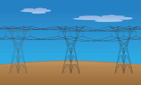Illustration of electric power transmission towers and high voltage cables. Ideal for training and institutional materials Illustration