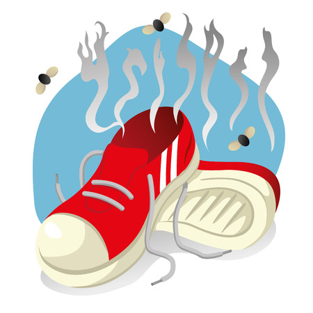 Illustration depicting a red object tennis played with foot odor
