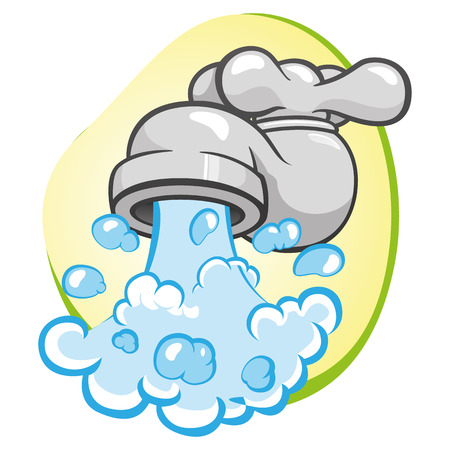 Illustration representing object open with water gushing faucet