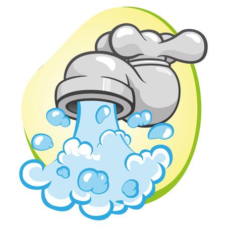 Ilustracja reprezentujący obiekt otwarty z wodą tryskającą kran