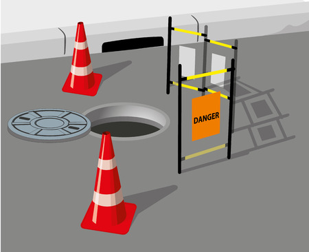 containment: Illustration depicting a safety area around the sewage hole workplace