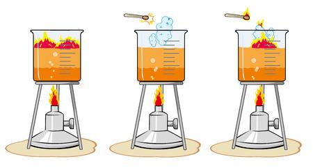 Illustrazione vettoriale Esperienza di catalizzatore di laboratorio