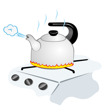 Illustration representing a kettle with boiling water on the fire Ilustração