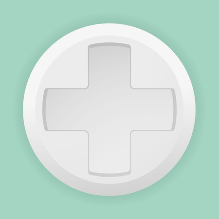 stimulant: Illustration of a white pill with a white cross Indicating first aid or hospital