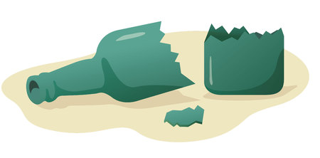 Illustration represents a broken bottle in several cases ideal for educational and institutional materials.