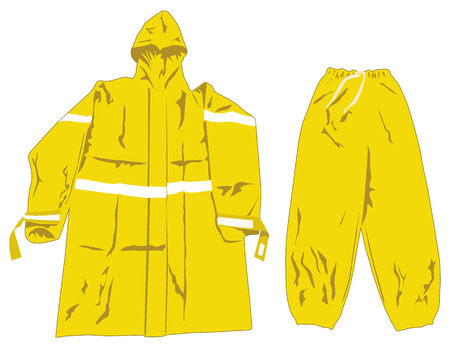 plated: Illustration depicting a set of raincoats. Ideal for catalog of products and institutional materials