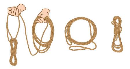 Anweisung Abbildung mit machen organisieren und Seil halten. Ideal für Schulungs- und Unterrichtsmaterialien Vektorgrafik