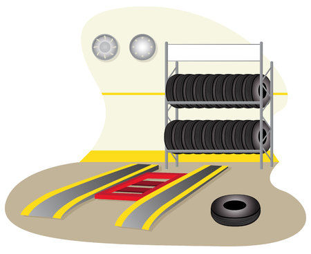 overhaul: Illustration of a garage, mechanics, tire repair. Ideal for training and institutional materials Illustration