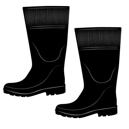 engravings: Illustration representing a safety equipment, insulated rubber boots and galoshes hypermeasurable. Ideal for maintenance of electrical networks and floods