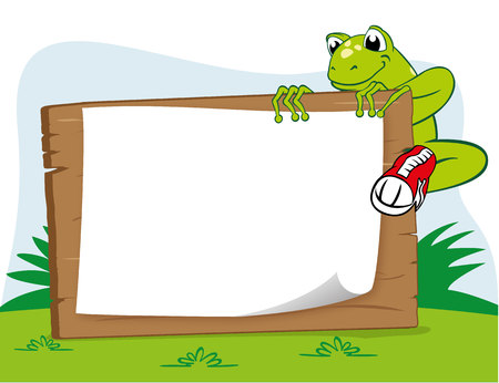 Illustration of a frog on a warning board. Ideal for educational and cultural materials